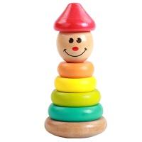 蒙氏早教玩具0-1-2-3周一两岁半宝宝女孩彩虹塔套圈堆塔积木 精品木制