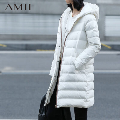 AMII[极简主义]  冬新品中长连帽拉链插袋80绒羽绒服11572216