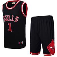 团购 可定制印号 男士篮球服套装 公牛1号德里克罗斯篮球衣球裤 训练服