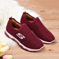 冬季新款老北京布鞋女士棉靴平底加厚妈妈鞋中老年一脚蹬棉鞋