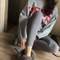打底裤女加绒加厚外穿显瘦韩版修身竖条纹小脚百搭学生