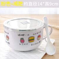 家用创意日式便当盒卡通可爱饭盒不锈钢泡面碗带盖学生宿舍大汤碗