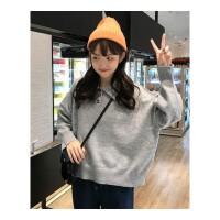 秋冬新款女装韩版宽松POLO领衣服宽松长袖慵懒风毛衣针织外套 均码