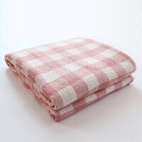 毛巾被纯棉双人全棉双层纱布空调毯单人夏季薄毯子盖毯定制 粉格子 毯子