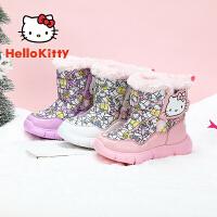 【3折�r:107.7元】HelloKitty�P蒂�童鞋女童雪地靴冬季新款�和�保暖加�q棉靴加厚大棉短靴 K0543951