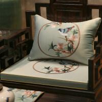 红木沙发垫新中式刺绣实木家具圈椅垫加厚防滑罗汉床海绵座垫定制