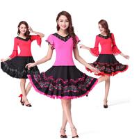 舞蹈服 拉丁舞 成人女跳舞 裙子 广场舞服装新款套装演出服女上衣短袖