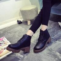 春秋季欧美中跟短靴粗跟圆头马丁靴短筒英伦复古系带女靴子潮女鞋