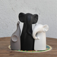 结婚礼物欧式陶瓷大象家居酒柜装饰品客厅电视柜新房卧室象摆件 三只象