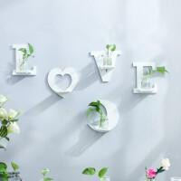 墙壁玻璃水培花瓶套装 室墙面墙上装饰品创意家居壁挂水培玻璃花瓶挂墙花瓶盆B