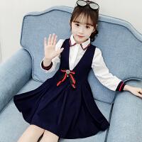 2019秋季新款韩版中大童连衣裙两件套女童洋气套装裙