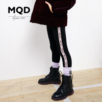 MQD童装女童加绒加厚打底裤冬装童裤运动长裤弹力条纹女裤潮