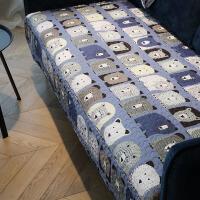 小熊 全棉布艺沙发垫防滑沙发盖巾套罩卡通坐垫四季通用可定做 卡通全棉防滑可定制F【小熊】