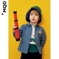 MQD男童衬衫长袖加绒加厚秋冬新款2019宝宝牛仔衬衣儿童翻领上衣