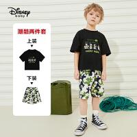 【2件2.4折:62.1元】迪士尼男童短袖中裤套装2021夏季新款洋气儿童针织两件套潮