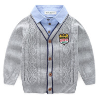 男童毛衣开衫儿童毛线衣 宝宝假两件衬衣外套