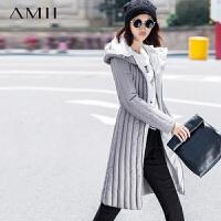 AMII[极简主义]秋冬新品大码连帽修身隐形插袋拉链羽绒服女11581219