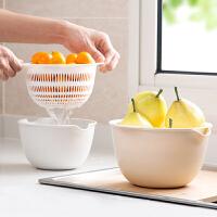 双层沥水篮厨房洗菜盆客厅水果盘 家用小号塑料菜篮子洗菜篮