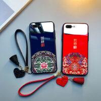 中国风iphone8plus手机壳苹果x玻璃6sp女款xr六6plus防摔7p全包xsmax硅胶8p鼠2020年本命11