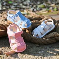 1-3-5岁男童牛皮凉鞋小宝宝鞋女童凉鞋夏季宝宝学步鞋软底鞋