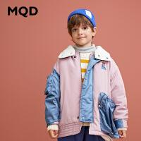 MQD童装男童加厚棉衣2019冬季新款棉衣加厚儿童羊羔绒工装