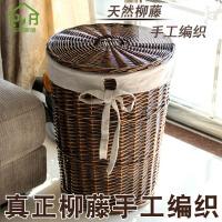 藤编脏衣篮装脏衣服篮子放衣服的收纳筐衣物带盖家用编织脏衣篓子