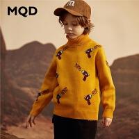 MQD童装男童2019冬季儿童高领针织打底衫满版加厚保暖中大童毛衣