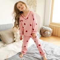 儿童睡衣女童草莓家居服套装薄款秋装中大童长袖小女孩春秋季