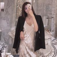 小香风连衣裙女春装2019新款chic气质百搭中长款V领流苏吊带裙潮