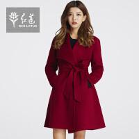 红莲韩版毛呢女装西装领修身中长款纯色双面羊绒大衣毛呢外套