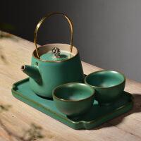 2019新品日式粗陶茶具套装整套旅行便携功夫茶具一壶两杯陶瓷茶盘茶杯茶壶 古绿提梁壶一壶两杯加茶盘 送茶巾