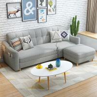 【品牌特惠】北欧多功能沙发床两用可折叠客厅小户型双人三人2米乳胶布艺沙发 +脚踏 2米以上