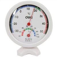 得力9012台式室内外温湿度计 可立放温度计 温差计办公用品