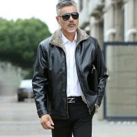 中老年皮衣 男士长袖翻领侧缝插袋拉链衫冬季新款男式时尚休闲舒适百搭男装外套