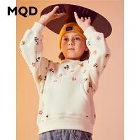 MQD童装加厚女童卫衣2019冬季新款加绒满版儿童连帽儿童保暖上衣