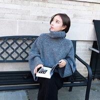 2015时尚个性学院风格女士 韩版高领大袖子粗针宽松毛衣