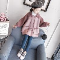 秋季女童外套秋冬装新款韩版儿童中长款呢子大衣加厚洋气潮衣