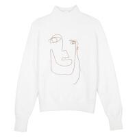 秋冬的白色高领小清新可爱毛衣女刺绣甜美套头打底衫 均码
