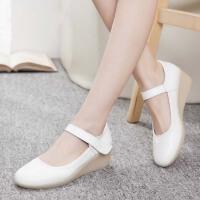 夏季护士鞋白色女妈妈鞋坡跟牛筋底舒适平底浅口单鞋