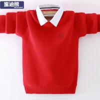 中大童衬衫领保暖打底衫新款男男孩针织衫童加绒毛衣
