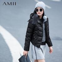 AMII[极简主义]冬新品假两件拉链连帽插袋修身羽绒服11541468