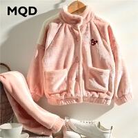 【1件3折:198】MQD童装女童立领法兰绒家居服2019冬装新款儿童加绒睡衣套装