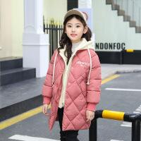 女童棉衣中长款女孩冬装加厚外套新款韩版棉袄潮儿童洋气 粉红色 110cm(110cm建议身高100-105厘米穿