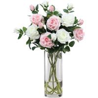 假花仿真花摆件玫瑰花客厅摆设干花花束插花餐桌花瓶防真花装饰花 芬芳玫瑰 4白4浅粉