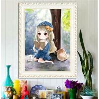 十字绣2019新款线绣客厅小幅画卧室儿童卡通动漫可爱蓝色书香女孩