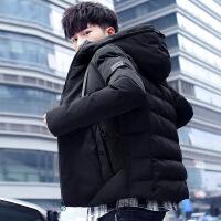 新款男士棉衣外套韩版连帽冬季加厚外衣学生棉袄青年夹克 8黑色 M90-120斤