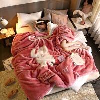 卡通拉舍毛毯加厚双层盖毯被子床单秋冬季珊瑚绒单双人可爱定制 熊熊日记 200cmX230cm(双层加厚7斤)