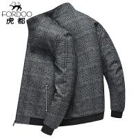 虎都男装春季夹克外套男士商务立领格子耐磨青中年休闲男装茄克上衣HDNJ2907