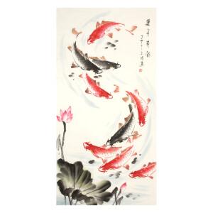 余涛《连年有余》花鸟 大尺幅 国画 精品 装饰 送人字画的佳品