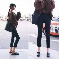 韩国加绒黑色牛仔裤女冬季新款韩版高腰显瘦宽松阔腿直筒裤子